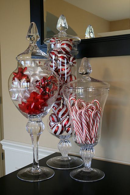 Apothecary jars, candy, bows. Such a simple DIY Christmas decoration idea!