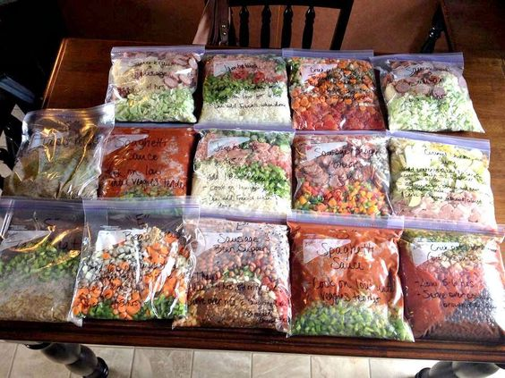 4 hours of prep = 30+ days worth of freezer/crock pot dinners!! That means NO cooking for me for 30 days!!! Just thaw and throw it in the crock pot! Freezer crock pot dump recipes.