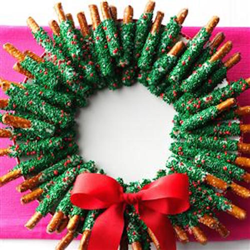 Chocolate and pretzels shaped into a wreath! Make one for the house and more to give away.