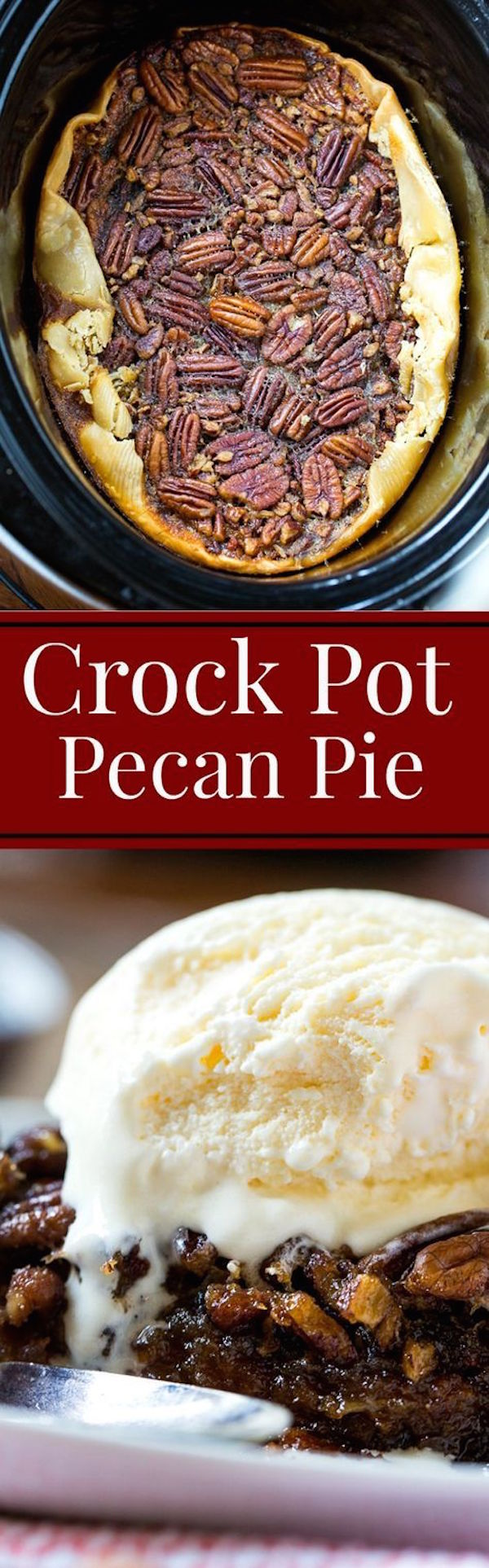 Did you know you could make pecan pie in a slow cooker! Crock Pot Pecan Pie is every bit as delicious as a pie cooked in the oven. So warm and gooey!