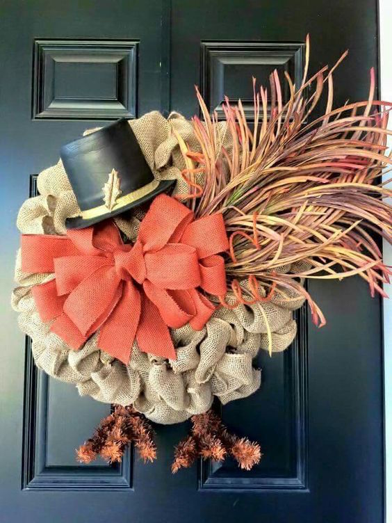 Burlap turkey wreath!