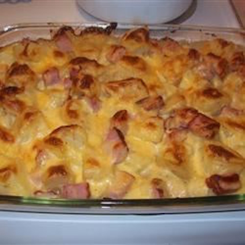 """Ham & Potato Casserole. One reader said, """"This ranks as one of the top 10 best things i have ever made!"""""""
