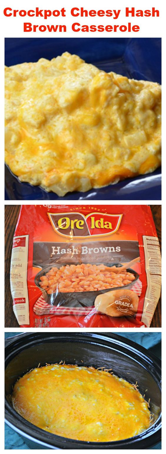 """How To Make Slow Cooker Cheesy Hash Brown Casserole. A classic oven recipe but made in a crock pot so you can free up oven space when you're cooking several things. """"The potatoes are incredibly delicious with or without the bacon."""" YUM!"""