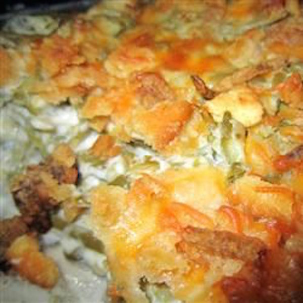 "Grandma's Green Bean casserole. Another pinner said, ""One bite and you will never go back."" The best green bean casserole EVER!!! Made with butter crackers, sour cream, cheese, and more."