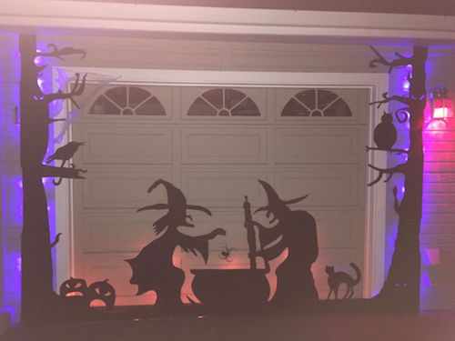 halloween garage door silhouette how to make a glowing halloween scene on a garage door