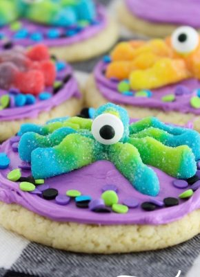 One-Eyed Monster Cookies. 3 ingredient cookies topped with colorful frosting, candy eyes, and monster gummies. Easy cookies to make for Halloween or party.