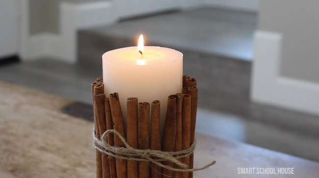 Wrap cinnamon sticks around a candle and the warmth of the burning candle will make the cinnamon sticks more fragrant!