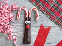 Chocolate Candy Cane Reindeer - adorable and easy chocolate candy cane reindeer for Christmas! Made with dark chocolate, candy eyes, and my favorite little red candy for the nose!