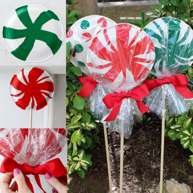 Giant paper plate lollipops for Christmas - ADORABLE! Super cute as a garden Christmas decoration or line your driveway with them! They cost less than a dollar each to make!