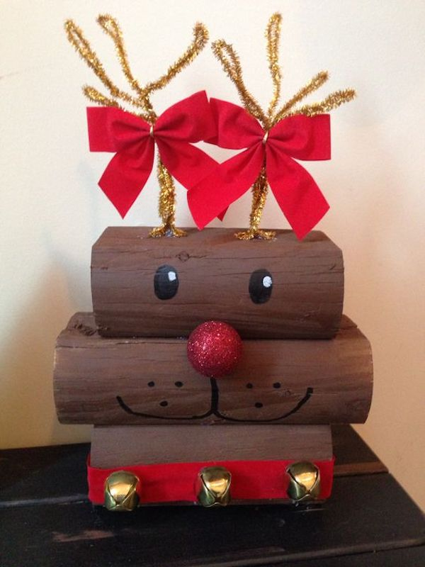 Wooden Rudolph made from landscape timber!