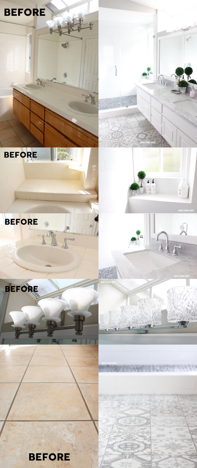 Gray and white bathroom ideas. GORGEOUS results with picking just two colors: gray and white!
