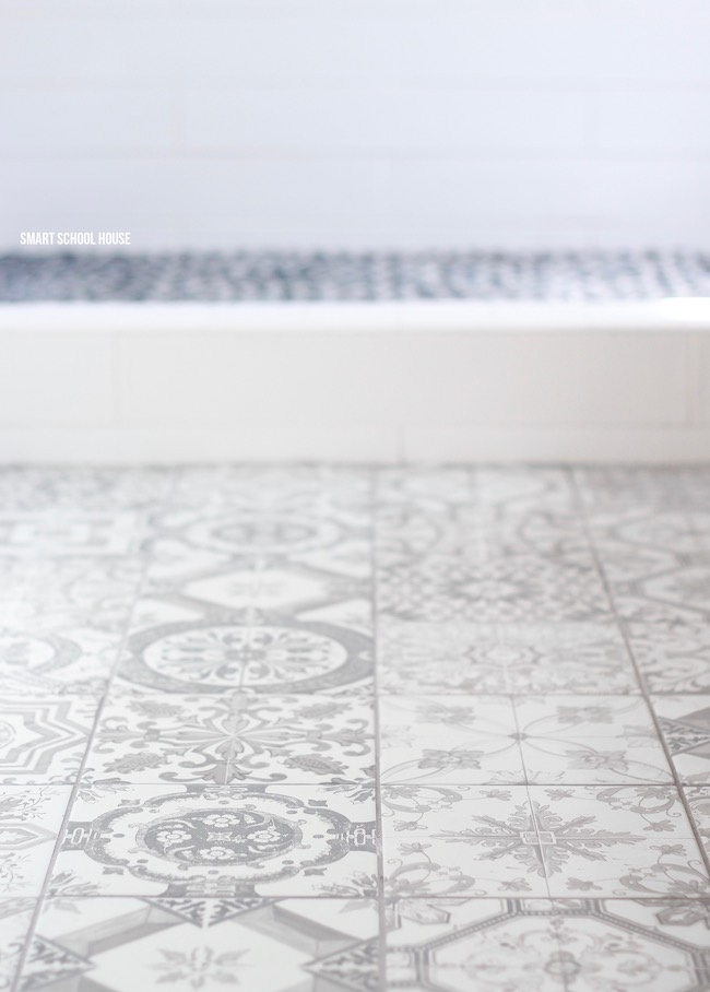 Gray And White Bathroom Ideas Rustic Patterned Tiles Rock Shower Floor