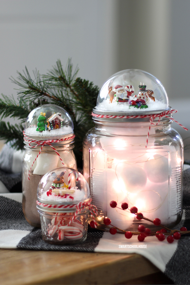 Snow Globes on top of a mason jar