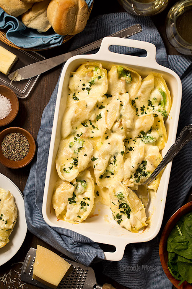 Chicken Broccoli Alfredo Stuffed Shells. Take some time from your busy schedule for a good home-cooked meal with Chicken Broccoli Alfredo Stuffed Shells For Two with homemade Alfredo sauce. Click the picture for the recipe.