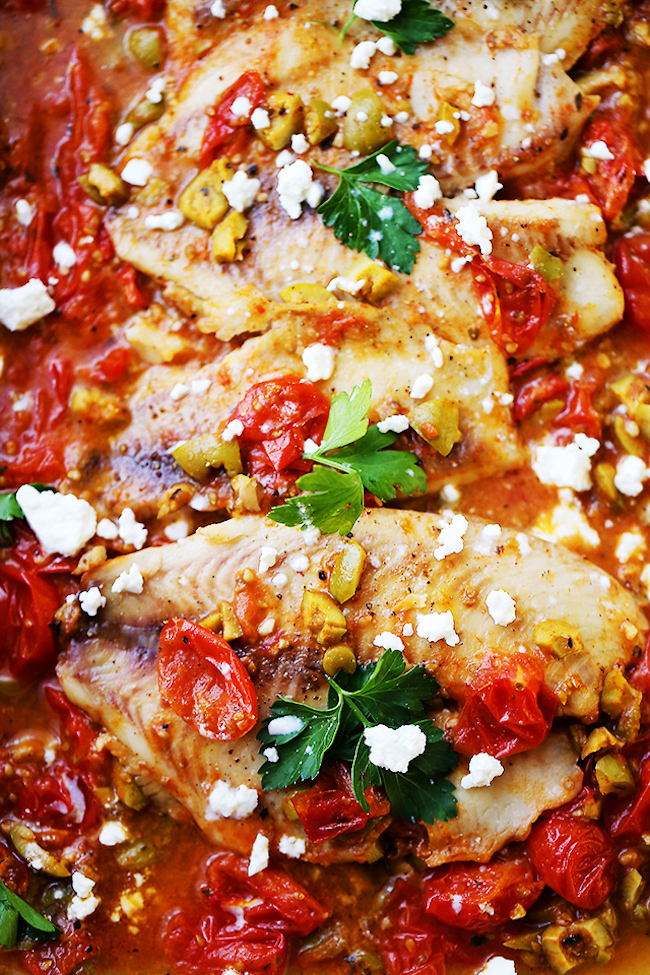 Mediterranean Style Baked Tilapia. A quick, easy, and healthy fish recipe with olives and tomatoes that's perfect for a weeknight dinner, and fancy enough for a dinner party!