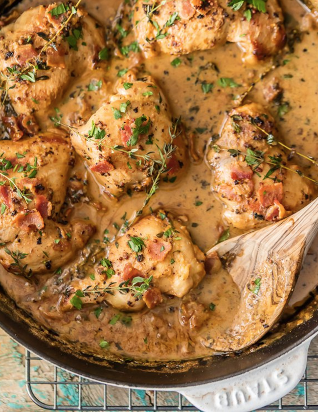 One Pot Mustard Chicken and Bacon Skillet. This One Pot Chicken and Bacon Skillet made with white wine and cream is such an easy romantic DELICIOUS meal!
