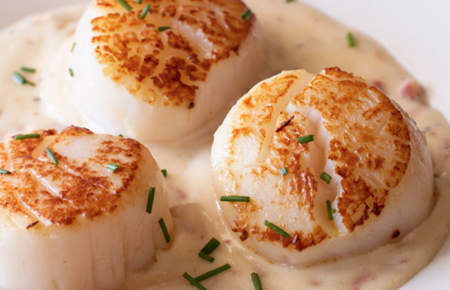 Pan Seared Scallops with Bacon Cream Sauce. Start off your date night dinner with these swoon-worthy Pan Seared Scallops with Bacon Cream Sauce.