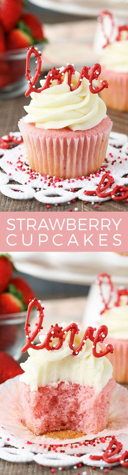 These Strawberry Cupcakes with Cream Cheese frosting are perfect! They are so moist and fluffy and one of my favorite flavor combinations!