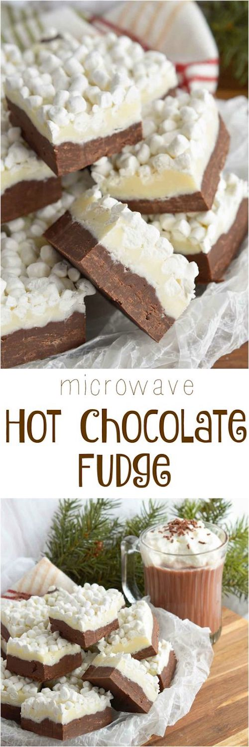 This Hot Chocolate Fudge Recipe brings two of your favorite winter desserts together. Hot cocoa and rich fudge topped with marshmallows! The perfect Valentine's Day treat.