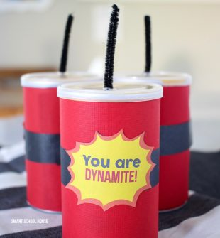 You Are Dynamite Pringles Can gift! ADORABLE! An easy Valentine's Day idea, kids party treat, or end of year gift for kids.