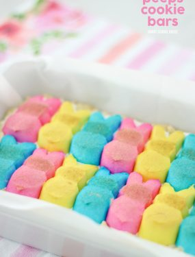 Layered Peeps Cookie Bars! Fluffy, loaded, and delicious Easter Dessert recipe idea.