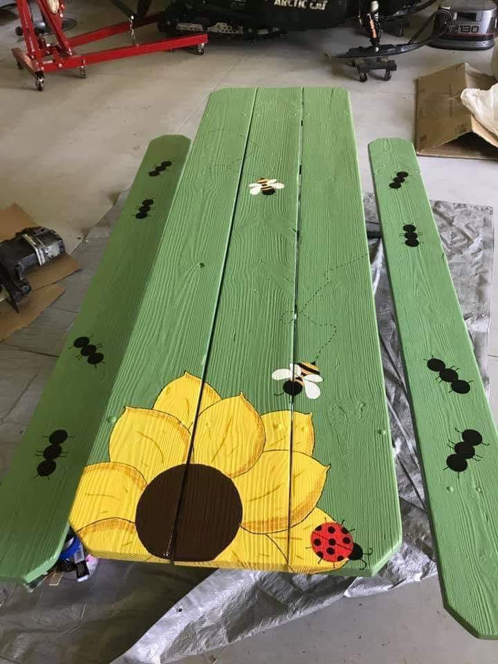 Painted Picnic Table - Via Deanna Smith