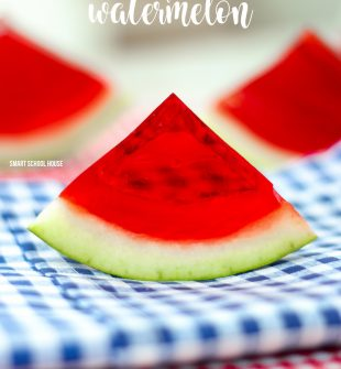 Jello Filled Watermelon - slice up some fun with this DIY watermelon jello recipe! Every kid loves biting into a slice of jello watermelon on a sunny day.