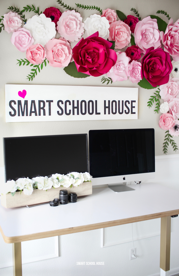 Smart School House office - paper flowers with a standing desk.