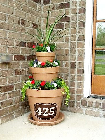 Tipsy Stacked Flower Pots