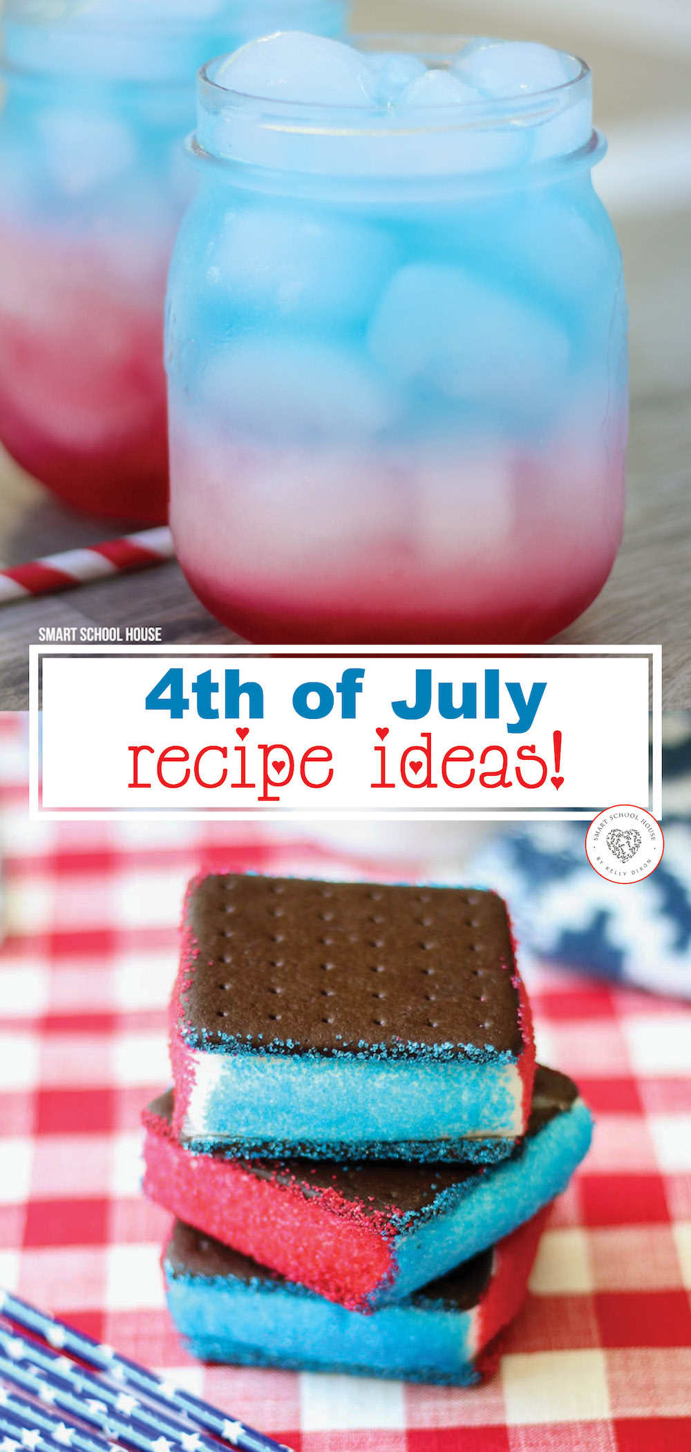 4th of July Recipe Ideas - patriotic desserts plus red, white, and blue cakes, pies, trifles, drinks, and more! #redwhiteandblue