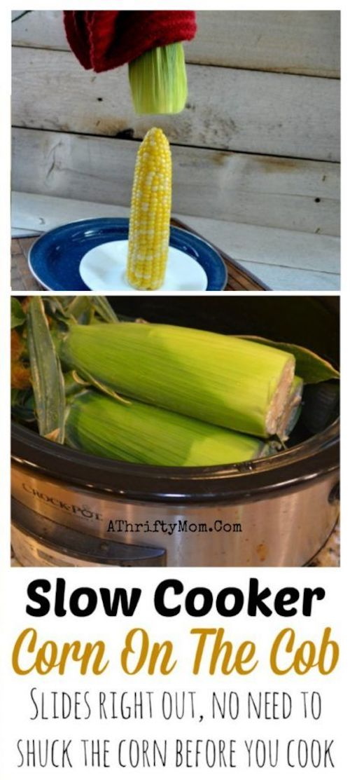 Corn On The Cob slow cooker crock pot recipe! No need to shuck the corn. You can cook it in the crock pot with the husk still on. This is a must try summer BBQ recipe. Talk about saving time and making life easy at the same time. I can wait to give this recipe a go!