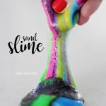 Sand Slime - how to make insanely colorful sand slime with only 3 ingredients (and NO food coloring)! It's stretchy but not sticky making it the perfect DIY craft for kids!
