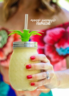 Mango Pineapple Frappuccino Recipe. Starbucks copycat recipe! It is is caffeine free, blended with a creamy milk base, and combined with mango & pineapple flavors.