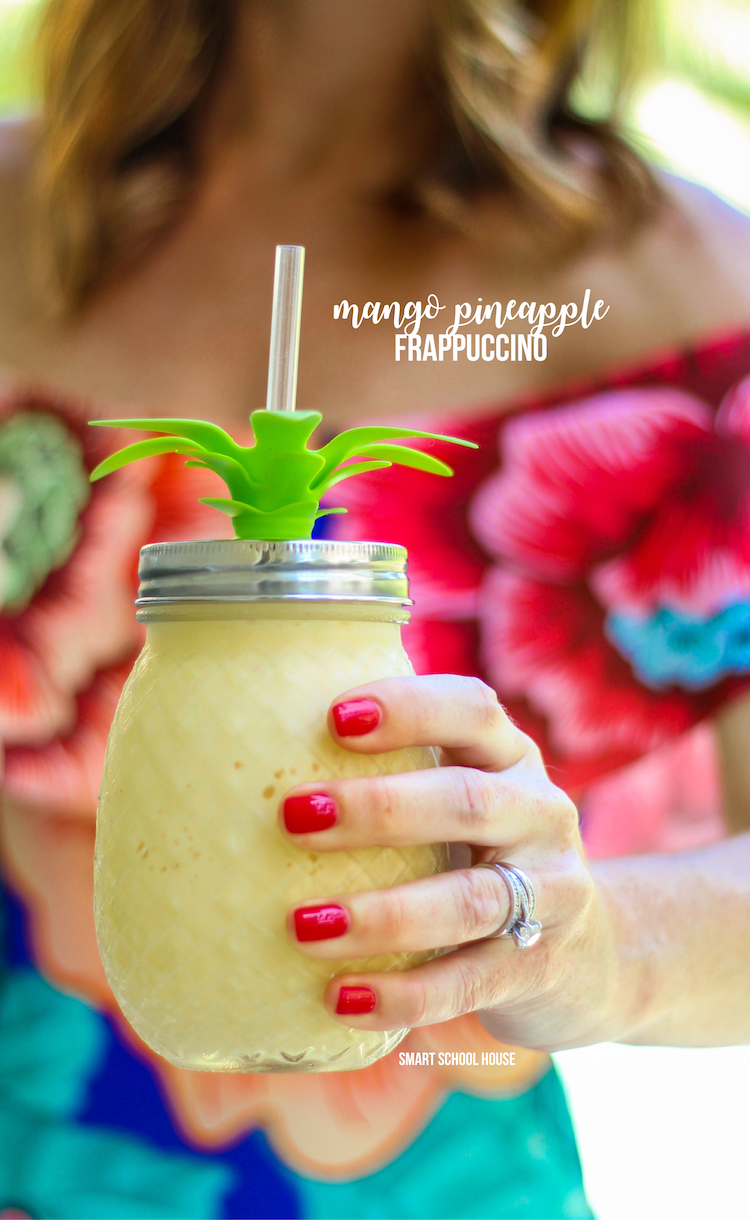Mango Pineapple Frappuccino Recipe. Starbucks copycat recipe! It is is caffeine free, blended with a creamy milk base, and combined with mango & pineapple.