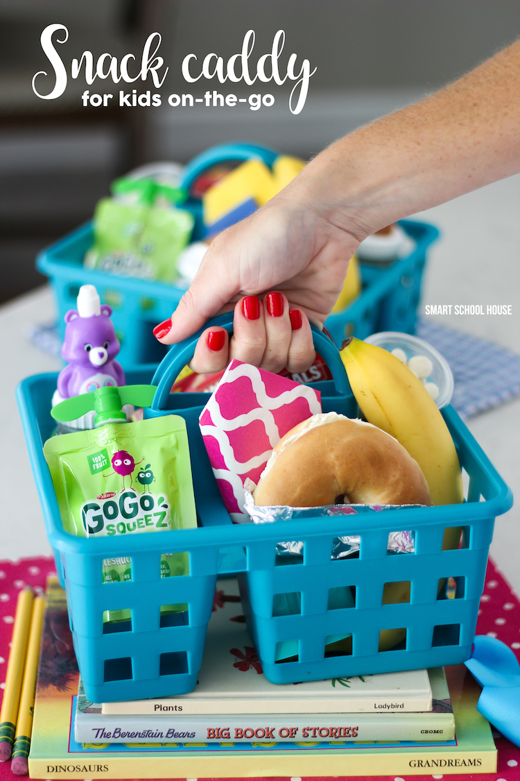 Snack Caddy to Go! Make one for kids on-the-go! After school snack ideas for busy kids and families. Use a shower caddy and fill it with great snacks, like a GoGo squeeZ®, to keep your busy kids fed on the go.