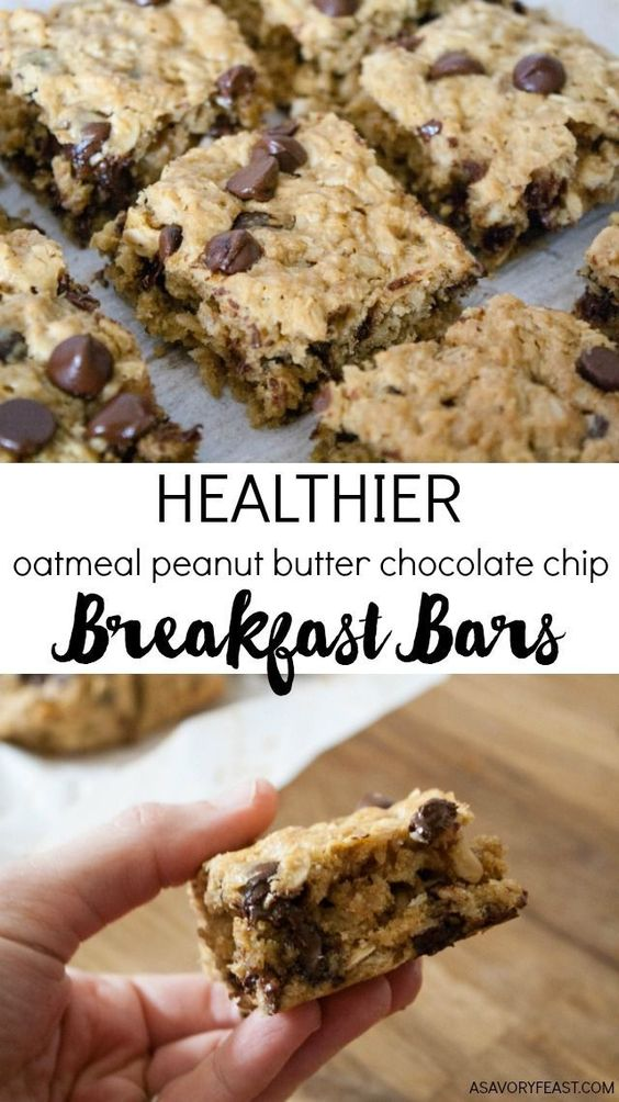 Chocolate Chip Breakfast Bars - Everything you need for breakfast: oats, peanut butter and a little bit of chocolate! These Healthier Oatmeal Peanut Butter Chocolate Chip Breakfast Bars are low in sugar and so filling!
