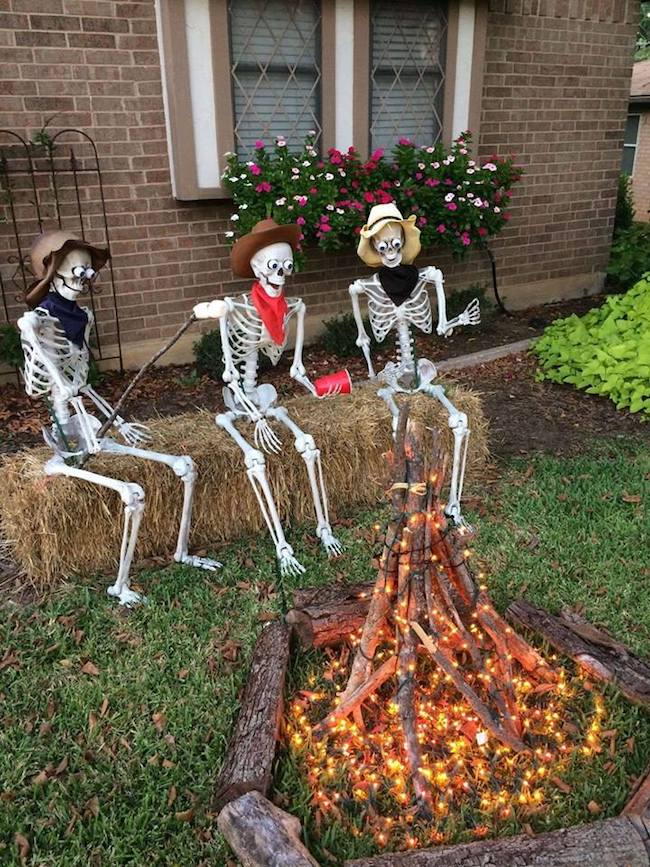 Halloween Campfire with Skeletons
