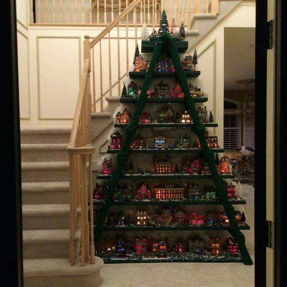 Christmas Village on a Ladder