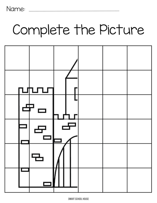Color by grid art for kids. Complete the Castle!