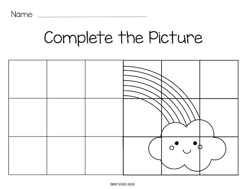 Gird art worksheet for kids. Complete the Rainbow!