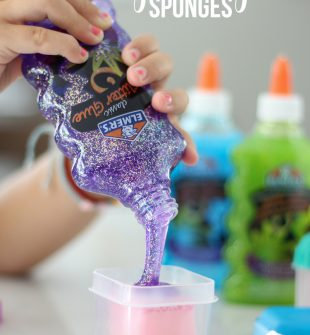 Glitter Glue Sponges: No more mess of drippy glue puddles! STEP BY STEP INSTRUCTIONS for how to make glue sponges. Use glue sponges for classrooms, small group centers, homework, artwork, etc.