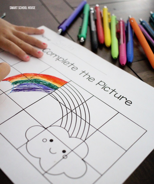 Color by grid worksheet for kids. Finish the rainbow!