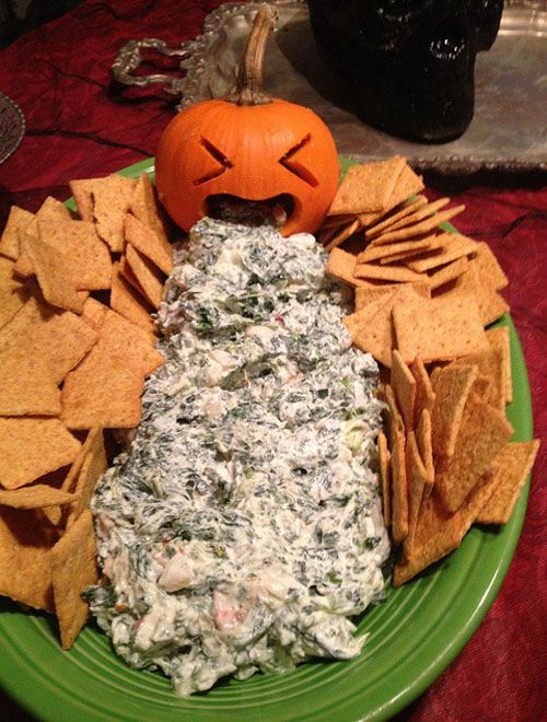 Okay, this is totally gross, which is what makes it perfect for your 'tween's Halloween party. Carve a small pumpkin and make some spinach dip. Eww!