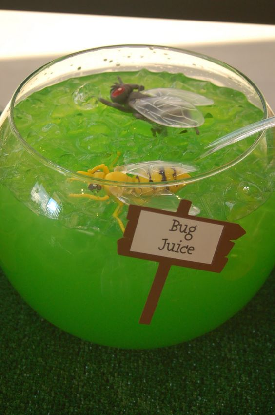 Fill a large punch bowl (or fish bowl) with any green juice. Add some big plastic spiders and it suddenly becomes bug juice! I can think of a few kids who would love this:)