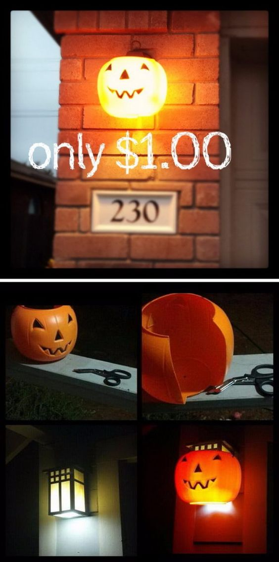Make a glowing pumpkin sconce by putting $1.00 plastic pumpkin over outdoor lights.