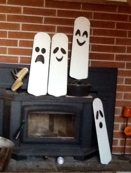 Ghosts made from old fan blades.