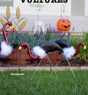 How to MakeFlamingo Vultures - Turn pink lawn flamingos into vultures using some spray paint and a white boa around the neck. DIY flamingo buzzards.