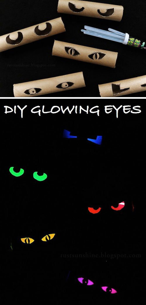 You might want to start saving those toilet paper rolls and paper towel rolls for this glowing Halloween craft!