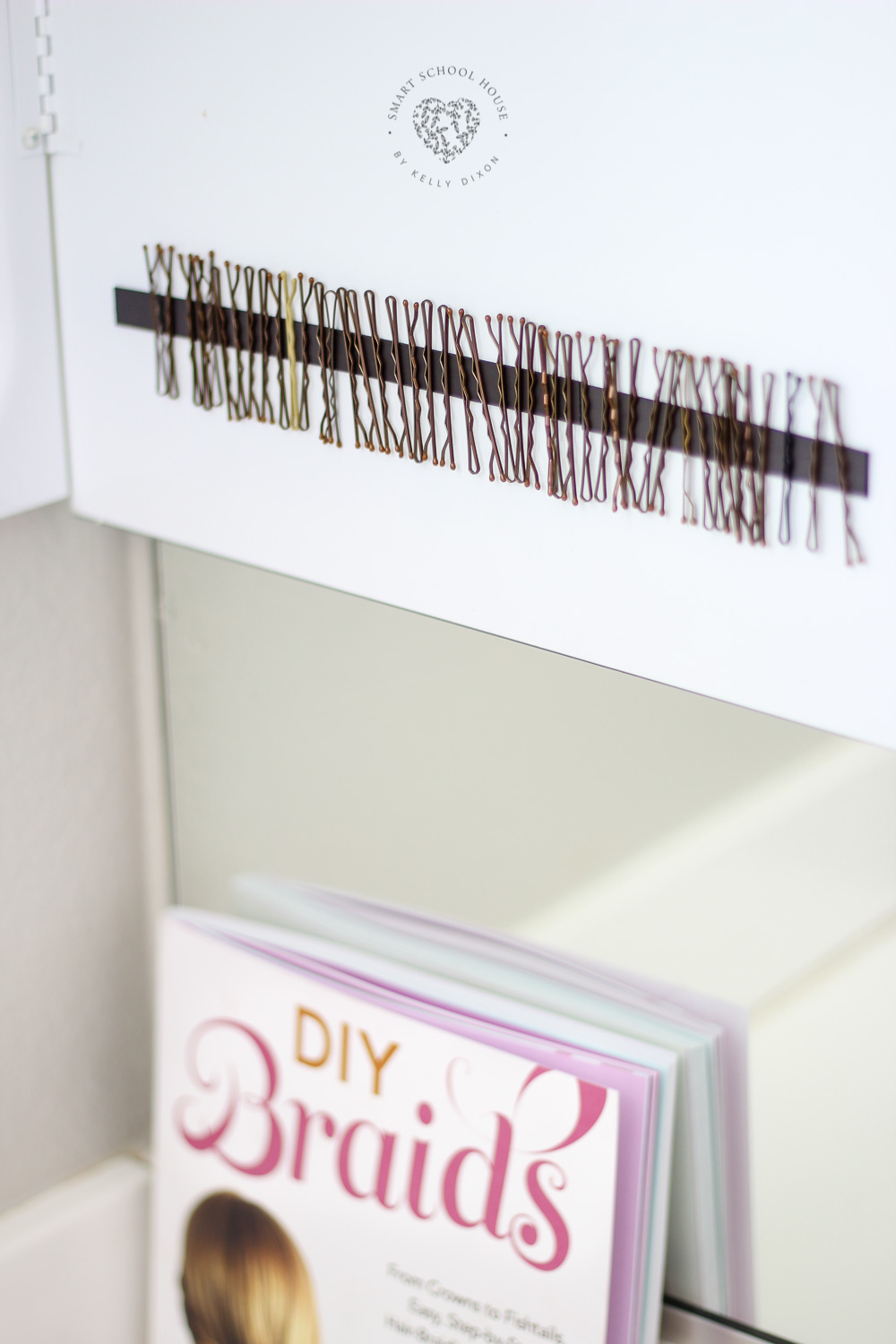 Bobby Pins on Magnets.I've owned about 6,000 bobby pins in my life. How many do I have left? Four. I have four left. Use magnetic strips to organize bobby pins