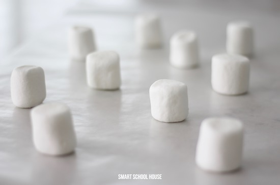 Marshmallows on wax paper to make ghosts